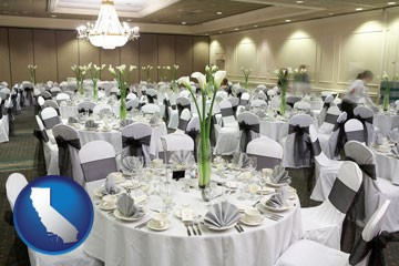 a wedding banquet catering hall - with California icon